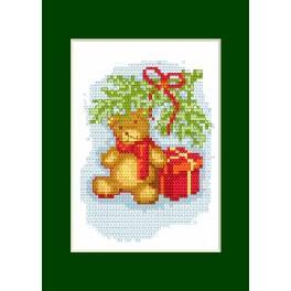 Vyšívací sada - Vánoční přání - Medvídek