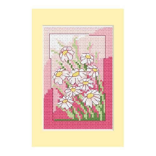 ZU 4832-02 Vyšívací sada - Narozeninová přání - Bílé květiny