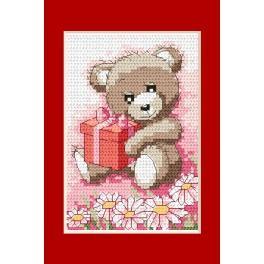 Vyšívací sada - Narozeninová přání - Medvídek s dárkem