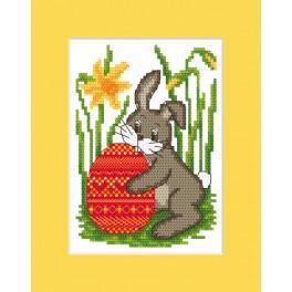 Vyšívací sada - Velikonoční přání - Zajíček s kraslicí
