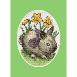 Vyšívací sada - Velikonoční přání - Zajíček s lukem