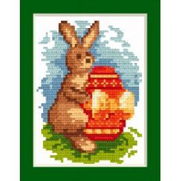 ZU 4596-01 Vyšívací sada - Velikonoční přání - Zajíček s kraslicí