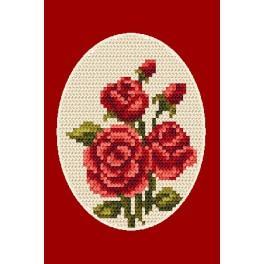 Vyšívací sada - Pohlednice - Růže