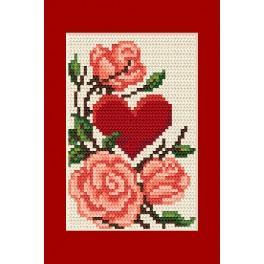 Vyšívací sada - Pohlednice - Srdce s růžemi