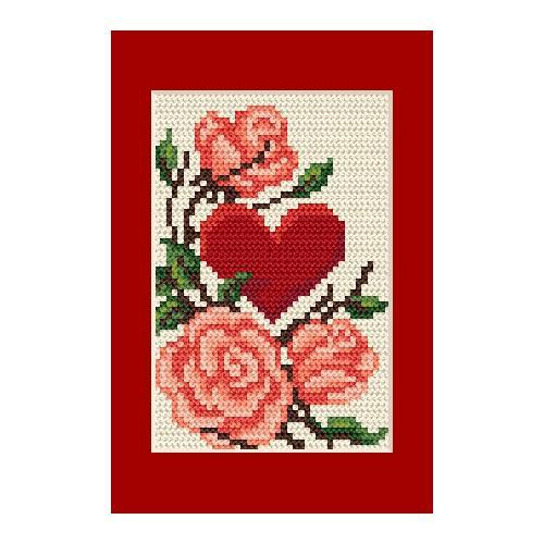 ZU 4805-01 Vyšívací sada - Pohlednice - Srdce s růžemi