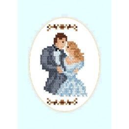 Vyšívací sada - Svatební přání - Novomanželé (ovál)