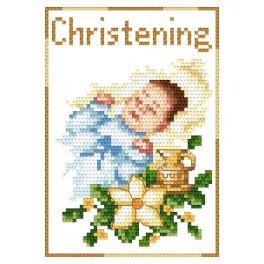 Vyšívací sada - Přání - Památka křtu - Chlapeček