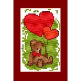 Vyšívací sada - Přání - Valentýnky - Medvídek a srdíčka