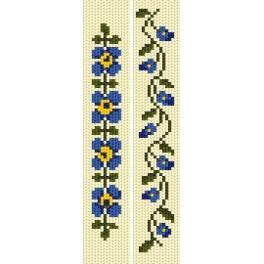 Vyšívací sada - Záložky - Modré květy