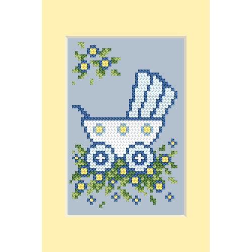 ZU 4458-01 Vyšívací sada - Přání - Den narození - Modrý kočárek