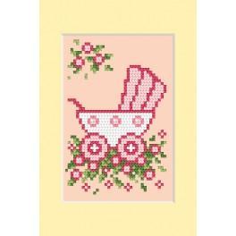 ZU 4458-02 Vyšívací sada - Přání - Den narození - Růžový kočárek