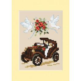 Vyšívací sada - Svatební přání - Automobil