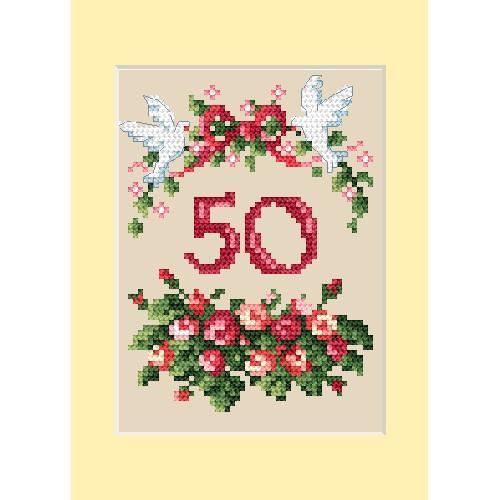 ZU 4460-01 Vyšívací sada - Přání k výroči - Růžičky