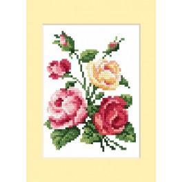 Vyšívací sada - Narozeninová přání - Barevné růže
