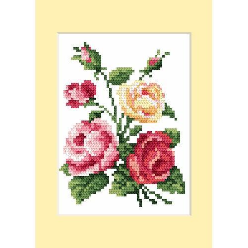 ZU 4460-02 Vyšívací sada - Narozeninová přání - Barevné růže