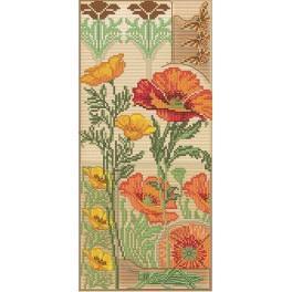 Floral vernissage - Vyšívací sada s mouline a pozadím