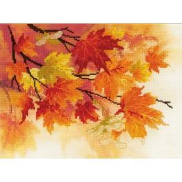 Vyšívací sada s mulinkou a pozadím - Podzimní barvy
