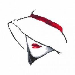 Vyšívací sada s mulinkou a podiskem - Žena v klobouku I