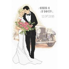 Vyšívací sada s mulinkou a podiskem - Vzpomínka na svatbu