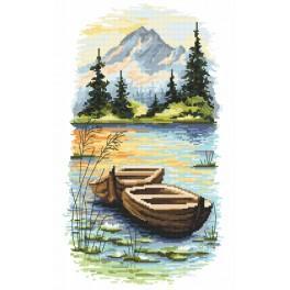 Vyšívací sada s mulinkou a podiskem - Soumrak nad jezerem