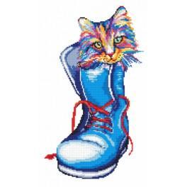 Vyšívací sada s mulinkou a podiskem - Kočka v botě
