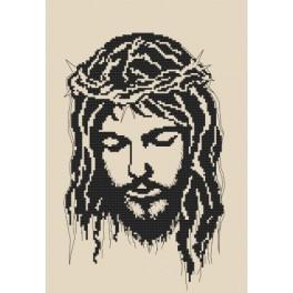 Vyšívací sada s mulinkou a podiskem - Ježíš v trnové koruně