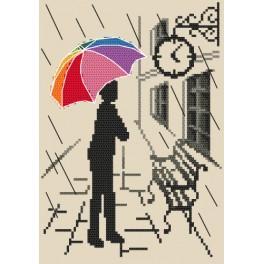 Vyšívací sada s mulinkou a podiskem - Barevný deštník - Již brzy