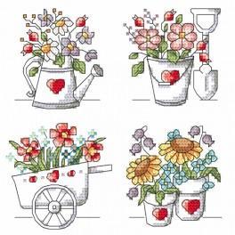 Vyšívací sada s mulinkou a podiskem - Květiny ze zahrady