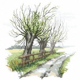 Vyšívací sada s mulinkou a podiskem - Tajemné vrby