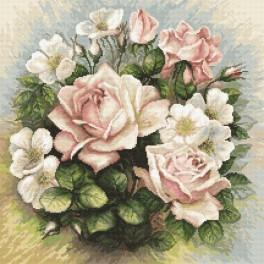 Vyšívací sada s mulinkou a podiskem - Pastelové růže