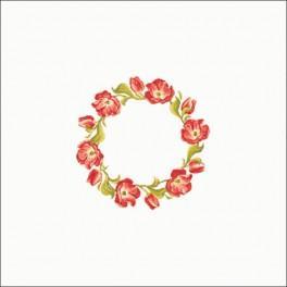 Zestaw z muliną i obrusem - Obrus - Tulipanowy wianuszek 90x90 cm