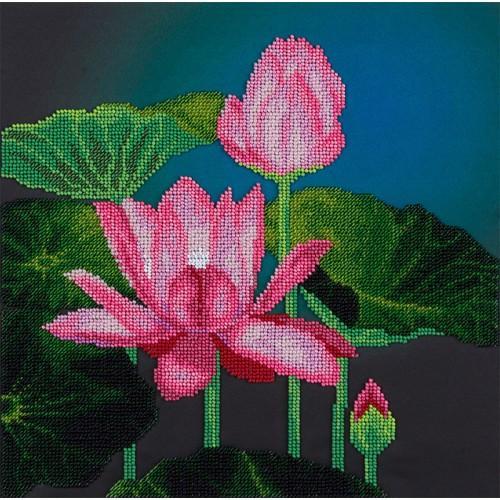 PABN 5005 Vyšívací sada s korálký - Růžový lotos