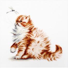 Vyšívací sada - Kočička s vážkou