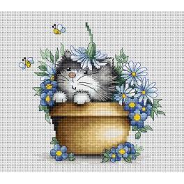 Vyšívací sada - Kočička v květinách