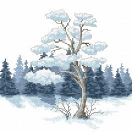 Vyšívací sada s mulinkou a podiskem - Borovice v zimě