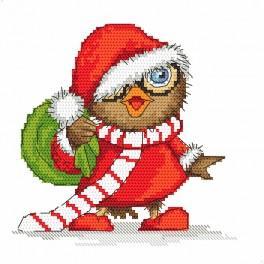 Set s předtisky a mulinky - Vánoční sovička