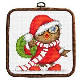 Vyšívací sada s rámečkem - Vánoční sovička