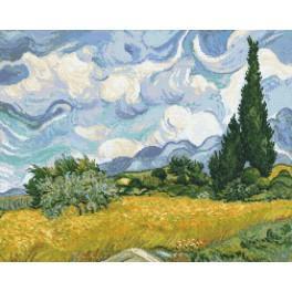 Předloha on line - Pšeničné pole s cypřiši - V. van Gogh