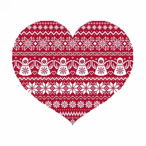 ZK 8875 Vyšívací sada s korálký - Skandinavské srdce
