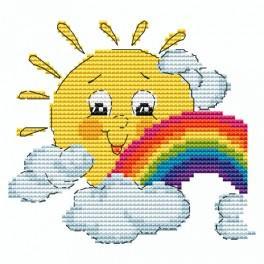 Vyšívací sada - Sluníčko s duhou