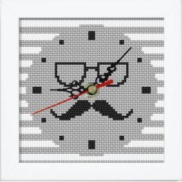 Vyšívací sada s mulinky, hodinami a rámečkem - Hodiny s knírkem