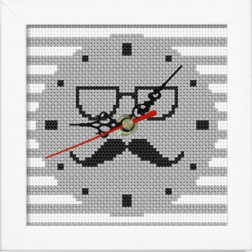 Vyšívací sada s mulinkou, hodinami a rámečkem - Hodiny s knírkem