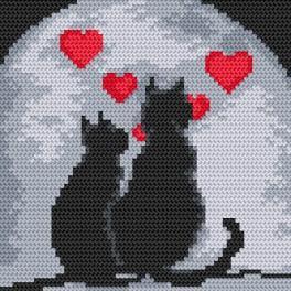 K 4379 Předtištěná kanava - Zamilovane kočky