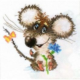 Vyšívací sada - Zamilovaná myška