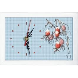 Vyšívací sada s mulinkou, hodinami a rámečkem - Hodiny s větvičkou divoké růže