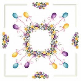 Předloha on line - Ubrus - Velikonoční věnec