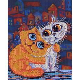 Vyšívací sada s mouline a pozadím - Kočka miluje