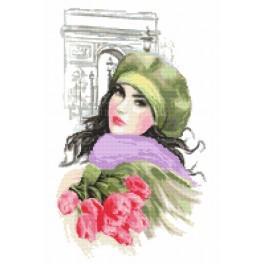 Předtištěná aida - Dívka s tulipány