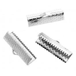 Koncovka krokodýlek pro náramky tmavé stříbro 20mm