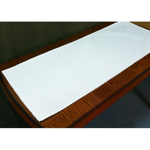 986-01 Běhoun Aida s krajkou 40x90 cm bílá